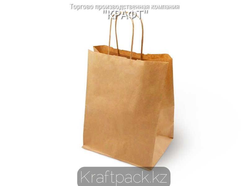 Бумажный пакет из крафт бумаги, бурый с ручкой 70гр 260*150*350 (150шт/уп)