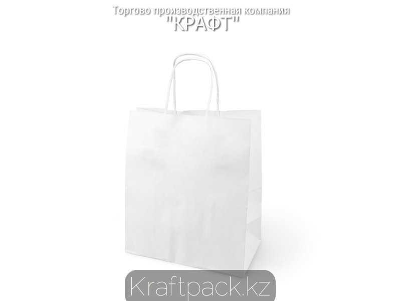Бумажный крафт пакет, белый с крученной ручкой 80гр 240*140*280 (300шт/уп)