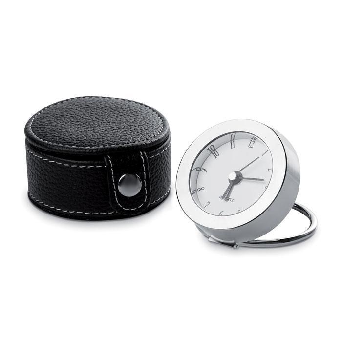 Дорожные часы в металлическом корпусе, в кожаном футляре