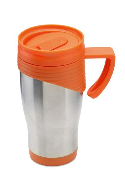 Кружка из нержавеющей стали с пластиковой ручкой. Объем 455 мл. Цвет: Оранжевый