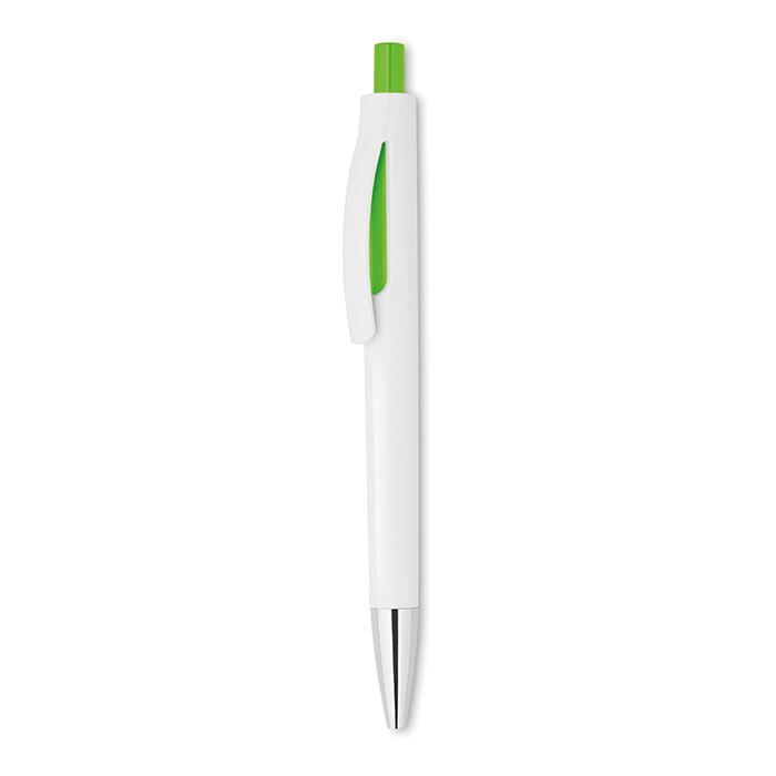 Шариковая нажимная ручка в пластиковом белом корпусе