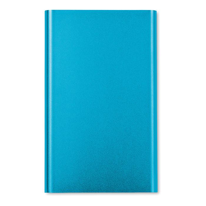 Алюминиевый плоский аккумулятор на 4000 мАч. USB кабель включен. Цвет синий