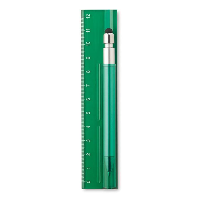 Шариковая ручка со стилусом и 12-сантиметровая линейка из пластика