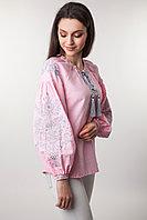 Вышиванка женская Цветущий сад, розовый лен