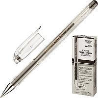"Ручка гелевая CROWN ""Hi-Jell"", корпус прозрачный, узел 0,5 мм, линия 0,35 мм, ЧЕРНАЯ, HJR-500B"