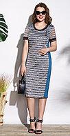 Платье Lissana-3721, серый+темная бирюза, 50