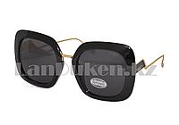 Солнцезащитные очки  Fendi, черная оправа с черной линзой