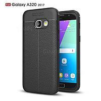 Силиконовый чехол Auto Focus Leather case для Samsung Galaxy A3 A320 2017(черный)