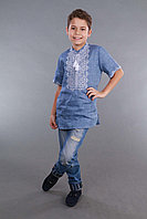 Вышиванка для мальчика 2004, белая вышивка, лен джинс