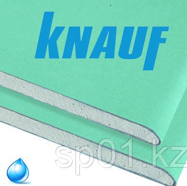 """Гипсокартон Влагостойкий стеновой ГКЛ """"KNAUF"""", толщина 12.5 мм, размер 1200*2500"""