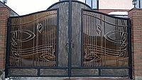 Ворота с ковкой и профнастилом