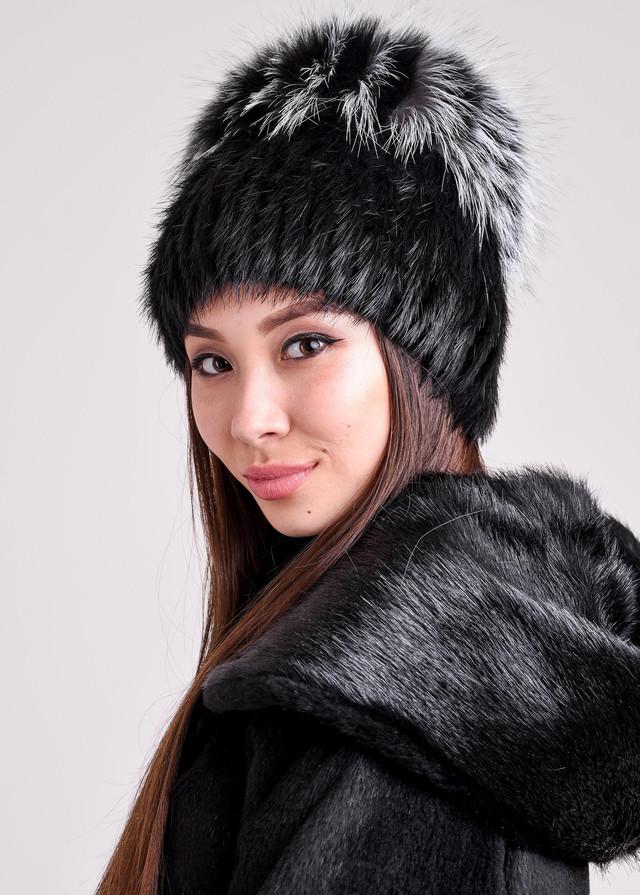 Женская меховая шапка сноп из натурального меха Казахстан