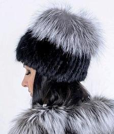 Меховая шапка из Норвежской чернобурки, натуральный мех