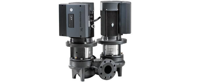 Сдвоенные центробежные насосы «ин-лайн» TPED  2000 со встр.част. преобразователем и датчиком перепада давления