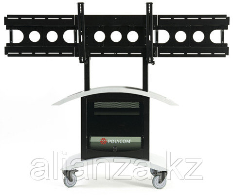 """Caster kit for packaged solutions, Polycom HDX Media Centers only, single and dual displays.  Set of 4, 2 locking for use in front, 4""""."""