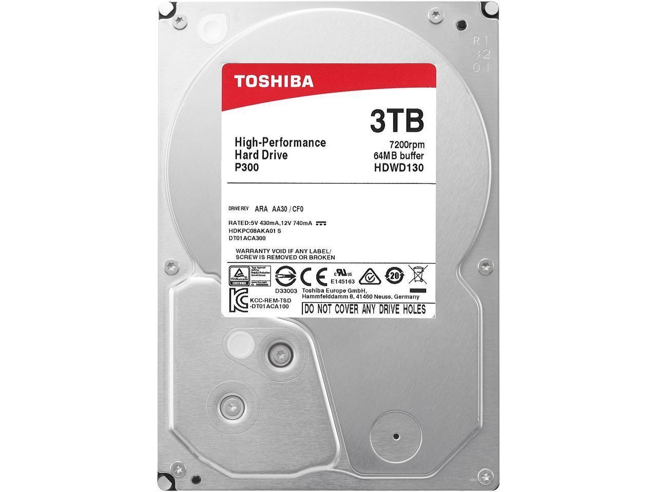 "Жесткий диск HDD 3Tb TOSHIBA P300 SATA 6Gb/s 7200rpm 64Mb 3.5"" HDWD130UZSVA"