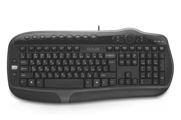 Клавиатура, Delux, DLK-9050UB, USB, Кол-во стандартных клавиш 104, 16 мультимедиа-клавиш, Размер: 496*223, 50*33, 5 мм., Длина кабеля 1, 4 метра,