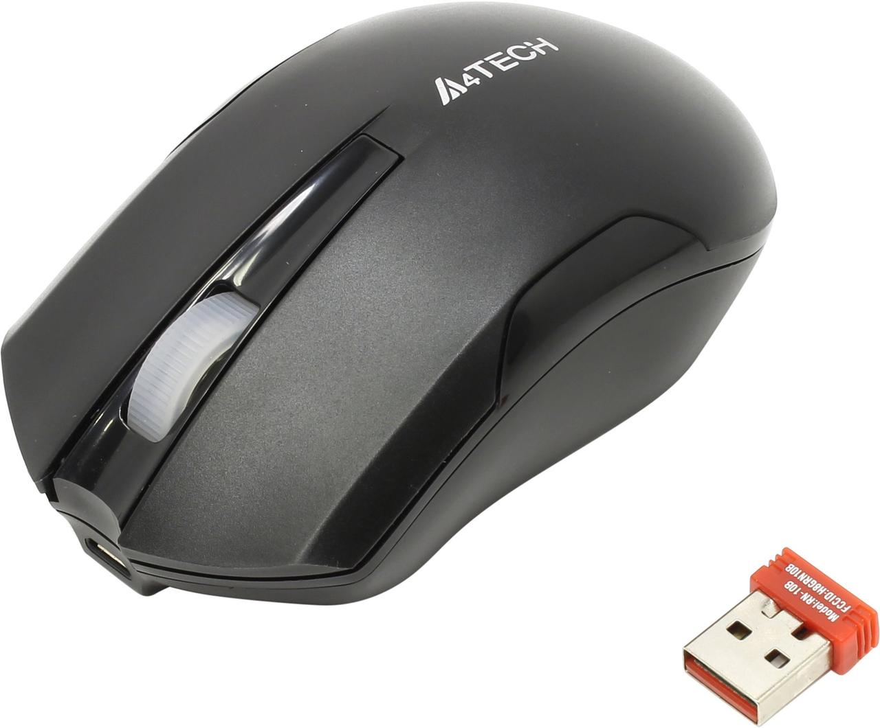Мышь беспроводная A4tech G11-200N BLACK Оптическая 2,4G USB 2000 dpi