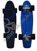 Пенни борд подростковый 56*15 с резиновыми колесами, серо-голубой