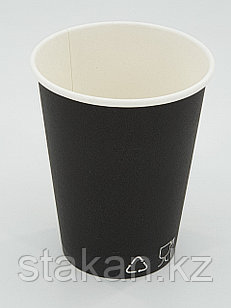 Бумажный стакан, 350мл, черный, однослойный
