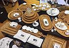 Тарелка бамбуковая Wilmax сервировочная овальная 3 секции 40,5х23см, фото 3