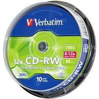 Диск Verbatim 43480 Cake Box CD-RW 700Mb