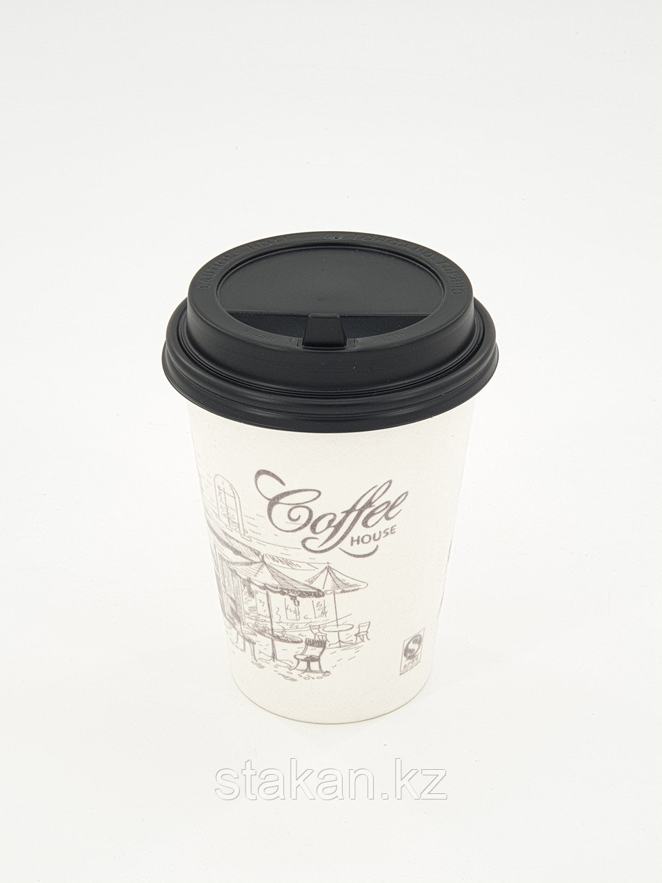 Бумажные стаканы (350мл, Coffee House, Белый, однослойный, матерчатый) НОВИНКА!!!