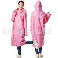 Универсальный плащ-дождевик с кнопками с козырьком из непромокаемой ткани Raincoat розовый
