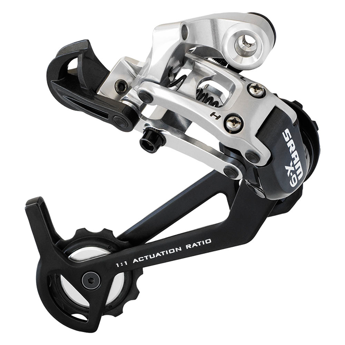 Sram  задний переключатель   X-9 9-speed Long Cage Carbon Graphite/silver