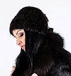 Черная меховая шапка из натурального меха стриженой нутрии, фото 2