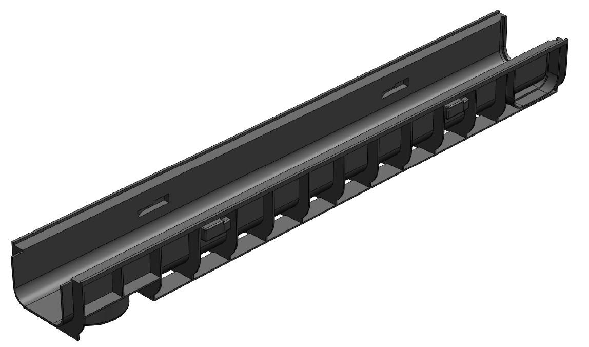 Лоток водоотводный Gidrolica Standart ЛВ-100х145х80 - пластиковый