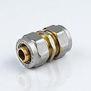 Муфта для металлопластиковой трубы Дн 16 обжим латунь никель ГОСТ 32415-2013