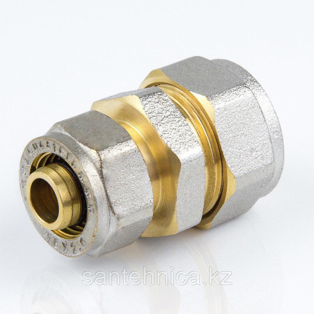 Муфта для металлопластиковой трубы Дн 32*26 обжим латунь никель ГОСТ 32415-2013 Valtec