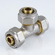 Тройник для металлопластиковой трубы Дн 20 обжим латунь никель ГОСТ 32415-2013