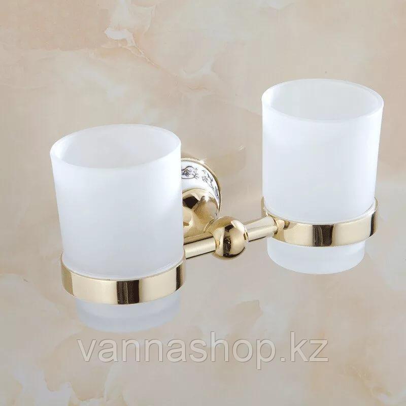 Настенная стакан (двойной) для зубных щеток и паст Золото