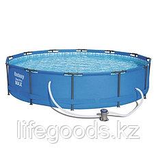 Каркасный бассейн круглый 366х76 см с фильтр-насосом, Bestway 56416, фото 2