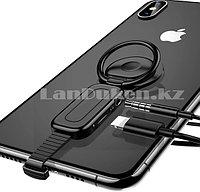 Переходник адаптер 3 в 1 Lightning + AUX Jack 3.5mm + попсокет (кольцо подставка + держатель) для iPhone