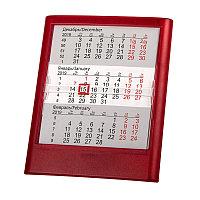 Календарь настольный на 2 года ; прозрачно-красный; 12,5х16 см; пластик; тампопечать, шелкография Красный -