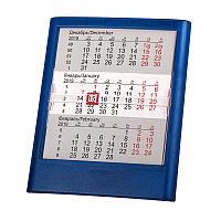 Календарь настольный на 2 года; прозрачно-синий; 12,5х16 см; пластик; тампопечать, шелкография Синий -