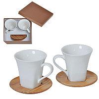 """Набор  """"Натали"""": две чайные пары в подарочной упаковке коричневый, белый"""