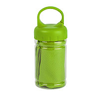 Полотенце спортивное в пластиковом боксе с карабином ACTIVE Зеленый -