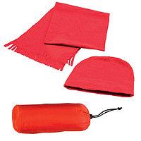 Флисовый набор WINTER шапка и шарф в чехле Красный -