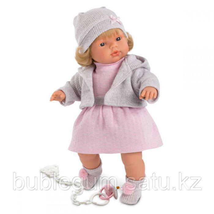 LLORENS: Кукла Лола 38см, блондинка в серой шапочке