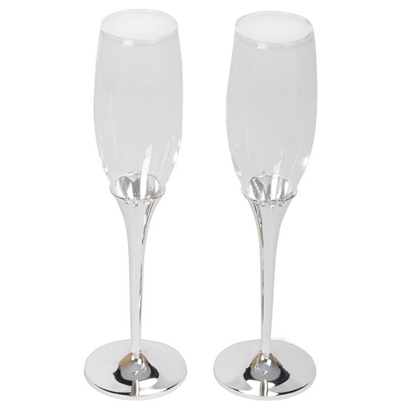 """Бокалы для шампанского """"Crystal"""" (2шт), серебристый, , 21300"""