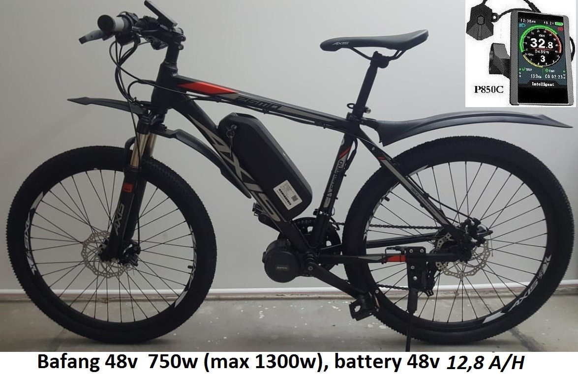 """48v 750w (max 1300w) BAFANG 8FUN BBS02, аккум. Li-ion 48v 12,8 A/H. Электровел. AXIS 26 MD 21sp. Рама 19""""."""