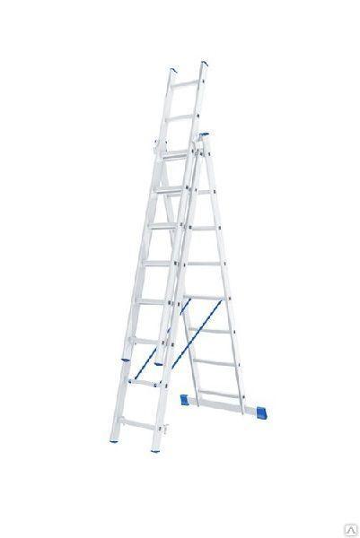 Лестница алюминиевая, трехсекционная,3х14 ступеней/ СИБРТЕХ