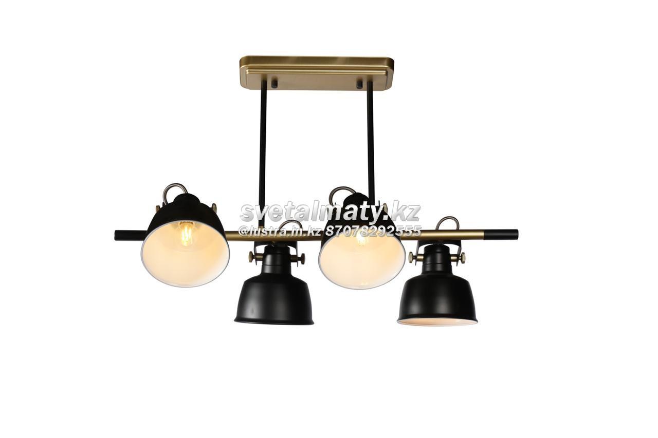 Люстра потолочная 4-х ламповая черная с золотом в стиле Модерн-хайтек