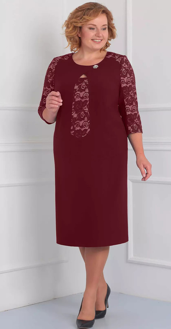 Платье Орхидея люкс-841/1, бордо, 56