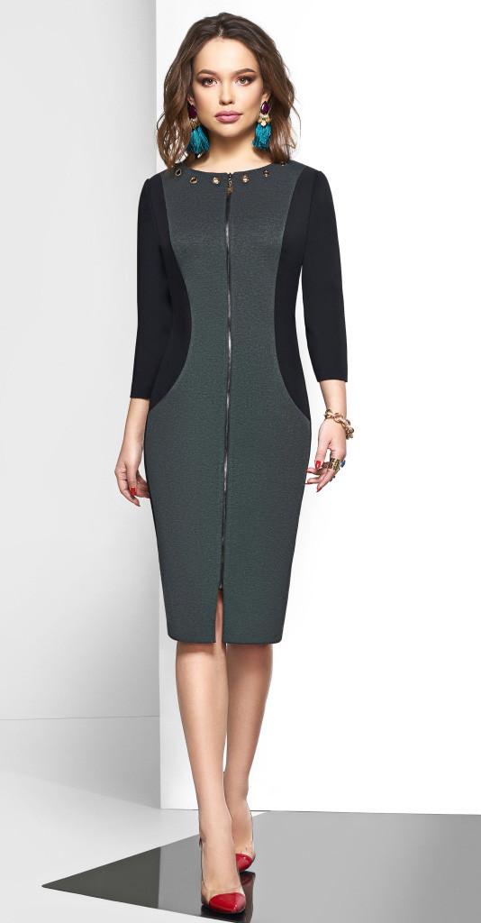 Платье Lissana-3579, черный с серым, 56