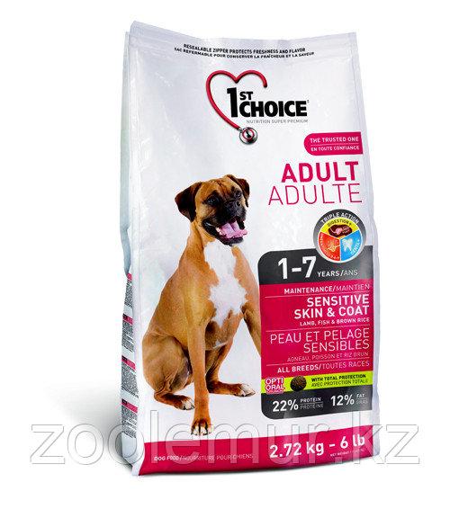 1st Choice Adult гипоаллергенный сухой корм для собак (с ягнёнком, рыбой и рисом)  15 кг.